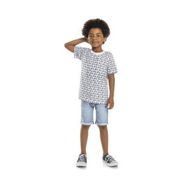 Camiseta Infantil Manga Curta Meia Malha Quimby, Branco, 10