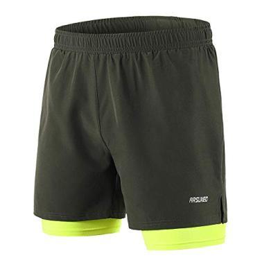 Shorts de corrida masculino 2 em 1 Funien – Short de secagem rápida respirável para treino ativo exercício corrida maratona ciclismo – Verde militar tamanho M