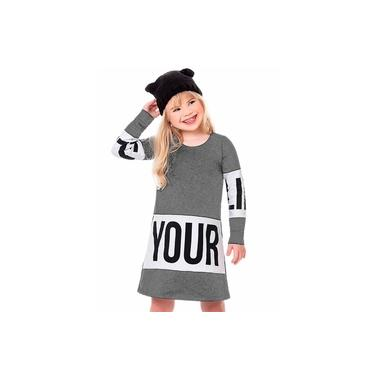 Vestido Infantil Menina Molecotton Your Life Cinza