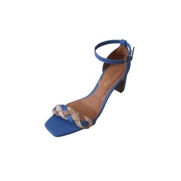 Sandália Mariotta 19075-07 Tira Trançada Azul Feminino