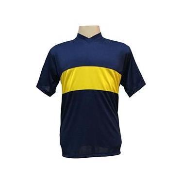 Jogo de Camisa com 14 unidades modelo Boca Juniors Marinho/Amarelo + 1 Camisa de Goleiro
