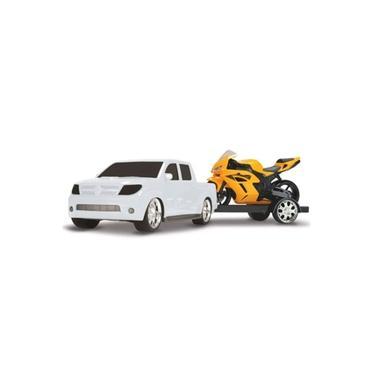 Imagem de Brinquedo Carrinho Pick Up Vision Hilux Toyota com moto Roma