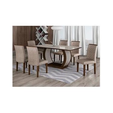 Conjunto de Mesa de Jantar com 6 Cadeiras Maia III Suede Amassado