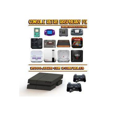 Console Retrô Mini PS4 RetroPie 25.000 Jogos + 2 Controles PS3