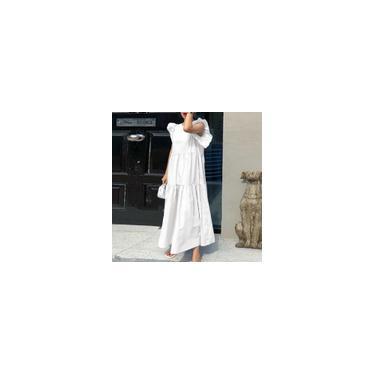 Imagem de Zanzea feminino verão manga curta tamanho grande cor sólida vestido longo solto vestidos em camadas Branco L