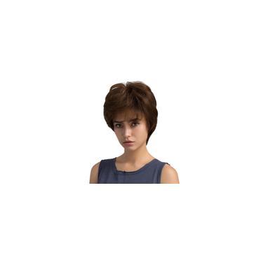 Imagem de Mulheres Em Camadas 100% Perucas De Cabelo Humano Com Tampa Curta Marrom Médio 10 Polegadas