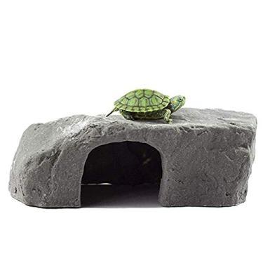 Imagem de OMEM Caixa de réptil abrigo de terrário esconderijo habitat decoração umidificador esconde-caverna tartaruga rampa basking plataforma resina rocha