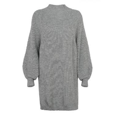 UUYUK Vestido feminino de manga comprida casual gola meia alta cor lisa caimento solto, Cinza, S