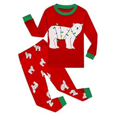 Family Feeling Pijama infantil para meninos grandes de verão 100% algodão, Christmas/Red/Bear6038, 14