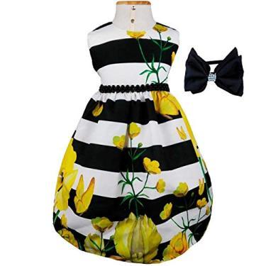 Vestido de Festa Luxo Flores e Listras Com Tiara P - 1