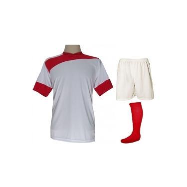 Uniforme Esportivo Completo modelo Sporting 14+1 (14 camisas Branco/Vermelho + 14 calções Madrid Branco + 14 pares de meiões Vermelhos + 1 conjunto de goleiro) +