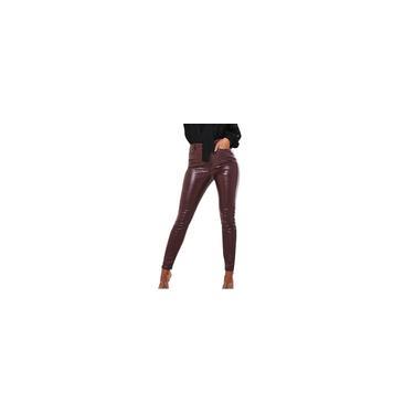 Calças femininas com zíper de cintura alta casual pele de cobra padrão de couro