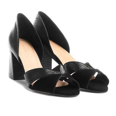 dd0d4b23d6 Peep Couro Toe Shoestock Salto Grosso Ondas Snake - Feminino Preto