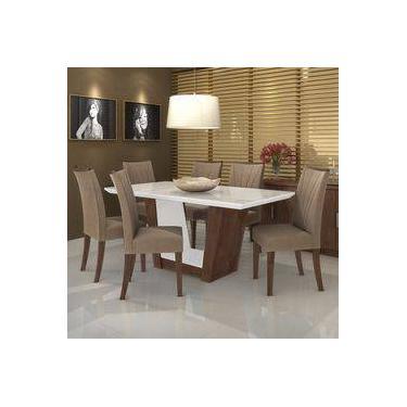 db7f19270 Conjunto Sala De Jantar Mesa Tampo Mdf vidro Branco 6 Cadeiras Apogeu Móveis  Lopas Imbuia