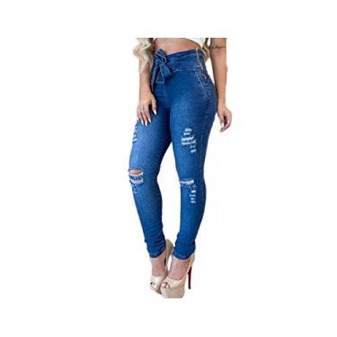 Calça Jeans Clochard Feminina Rasgada Zíper na Lateral (38)