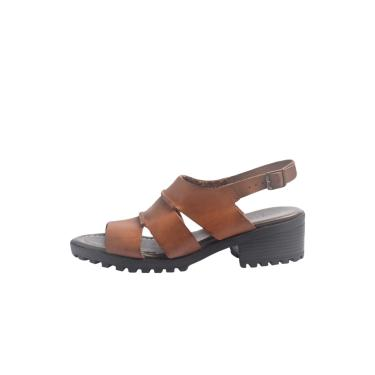 Sandália S2 Shoes Vitória Couro Castanho  feminino