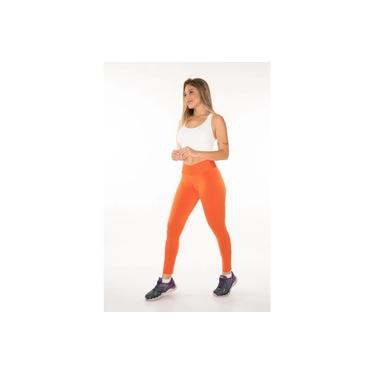 Calça Legging Styles Poliéster Suplex Laranja Coral Cós Alto