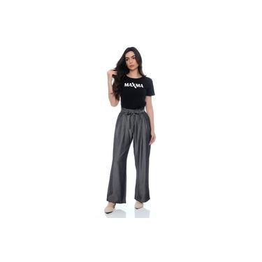 Calça Pantalona em tecido viscose acetinado , MAXMA2672