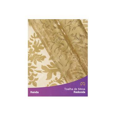 Imagem de Toalha De Mesa Redonda Em Tecido Renda Medalhão Dourado