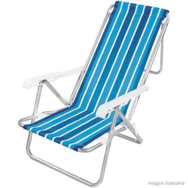 Cadeira de praia 8 posições cor sortida alumínio Mor