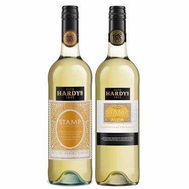 Kit 2X Vinho Branco Australiano Hardy's Stamp Chardonnay-Semillion/Rieseling-Gewurztraminer 2017