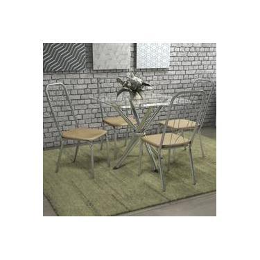 Jogo De Mesa Quadrada 4 Cadeiras Kappesberg Crome Cromado/nude