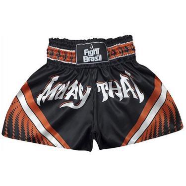 Fight Brasil Short Calção Muay Thai Athrox, M, Preto/Laranja
