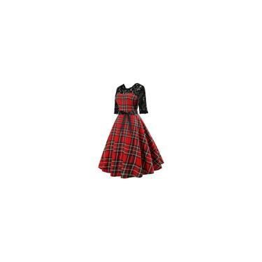RainmallCasual Vestido Retro Lace Plaid vestido Costura Moda Mulheres do