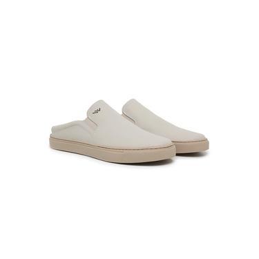 Imagem de Sapato Mule Masculino Couro Estilo Casual Confortável Macio Branco