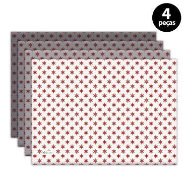 Imagem de Jogo Americano Mdecore Natal Estrelas 40x28 cm Branco 4pçs
