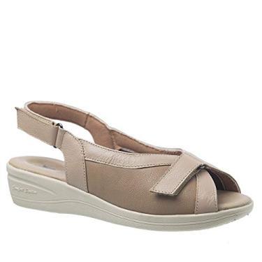 Sandália Anabela Esporão 196 em Couro Ostra/Amendoa/Techprene Bege Doctor Shoes -Bege-40