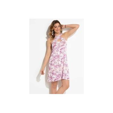 Vestido Feminino Quintess Floral com Tira Transpassada
