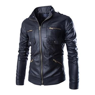 Jaqueta masculina WSLCN de couro sintético para motociclista, jaqueta de motoqueiro, casaco clássico com zíper multi-poches, Preto, US L (Asian XL)