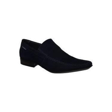 Sapato Rafarillo Em Couro Nobuck Azul Marinho Liso 9773