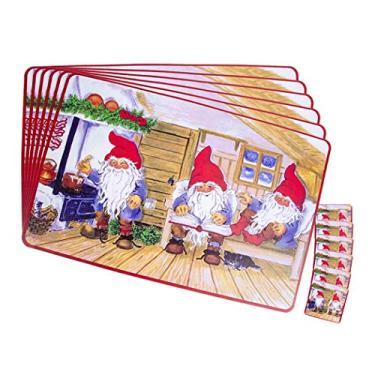 JUSTDOLIFE Jogo americano criativo de Natal com 6 peças para mesa de jantar