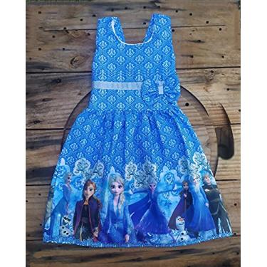 Vestido Infantil Temático Frozen MOD02 (M- Veste 04 a 06 anos)