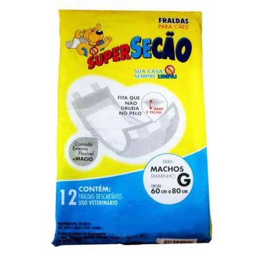 Fraldas Descartáveis Super Secão para Cães Machos - Tam. G
