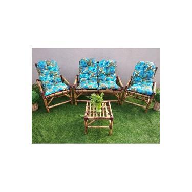 Conjunto Sofá De Área Bambu 4 Lugares 100% Fabricação Artesanal - 1 Sofá + 2 Cadeiras + 1 Mesa