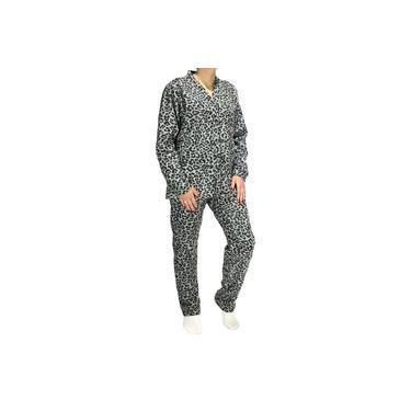 Pijama De Soft Estampado Aberto Com Bolso Adulto