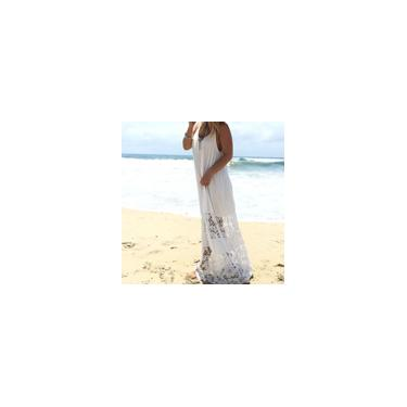 Imagem de Zanzea feminino verão sem mangas com decote em V vestido longo longo vestido de verão em patchwork de comprimento total Branco us 4