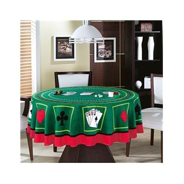 Imagem de Toalha de Mesa Baralho Aveludada Teka Poker  Redonda 160 CM