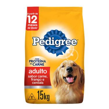 Ração Seca Pedigree Carne, Frango e Cereais para Cães Adultos Raças Médias e Grandes - 15 Kg