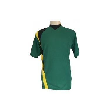 Jogo de Camisa com 14 unidades modelo PSG Verde/Preto/Amarelo