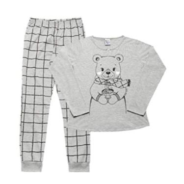 Pijama Feminino Infantil Pulla Bulla Ref. 42702 Cor:Cinza;Tamanho:4