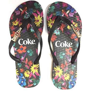 Chinelo Feminino Coca Cola Shoes Preto Floral CC2928