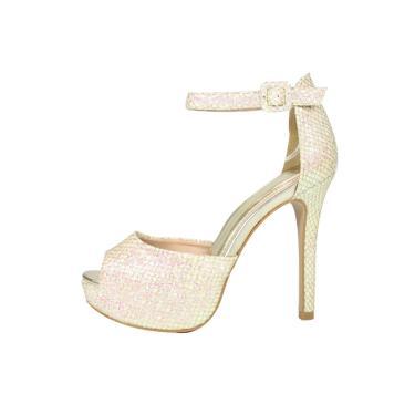 Sandália Salto Alto Week Shoes Meia Pata Tela Glitter furtacor Dourado  feminino