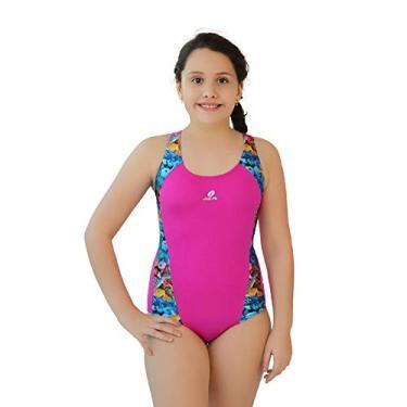 Maiô Infantil Helanca Paradise Just Fit/Pink-Estampado / 8