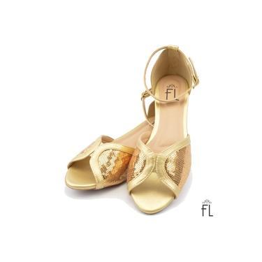 Sandália Peep Toe Ouro Light com Paetê