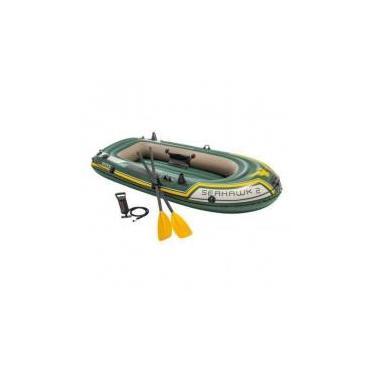 Barco Bote Inflável Intex Seahawk 200 Kg Par De Remos Bomba -