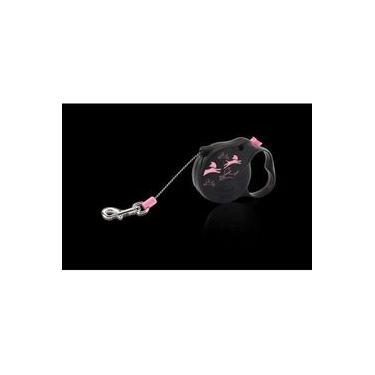 Guia Retrátil Corda Flexi Color Xs Mini - 8kg - 3mt - Preto E Rosa